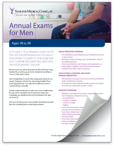 Thumbnail image of the Annual Exams For Men brochure