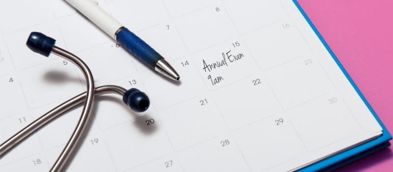exam appointment written on calendar