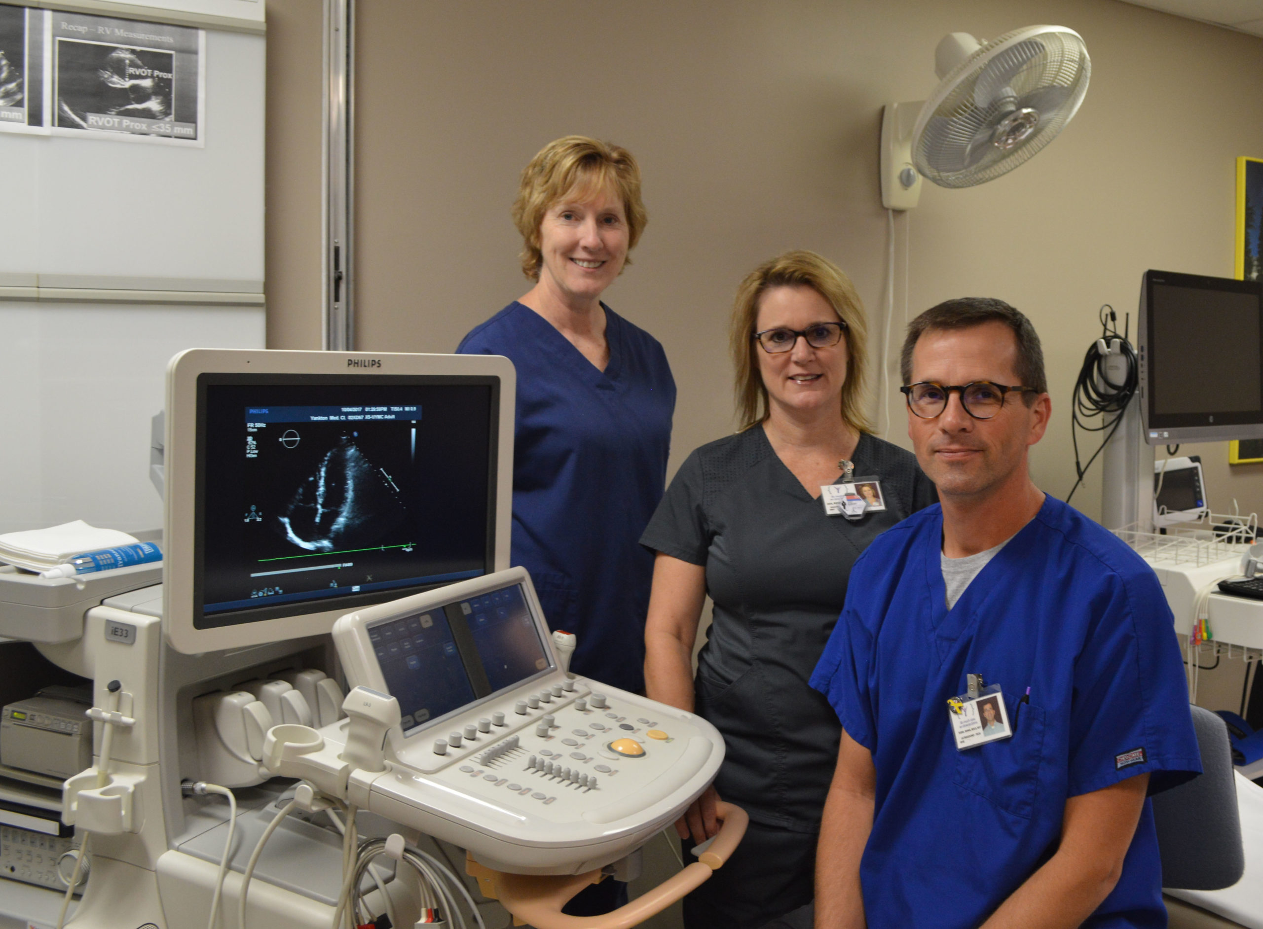 Echocardiology team Judy Van Heek, Jan Schrempp and Todd Langle.